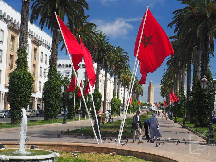 Flaga Maroko w Rabacie