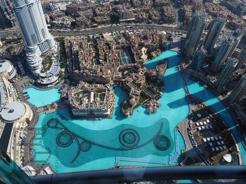 Fontanna przy Dubai Mall z góry