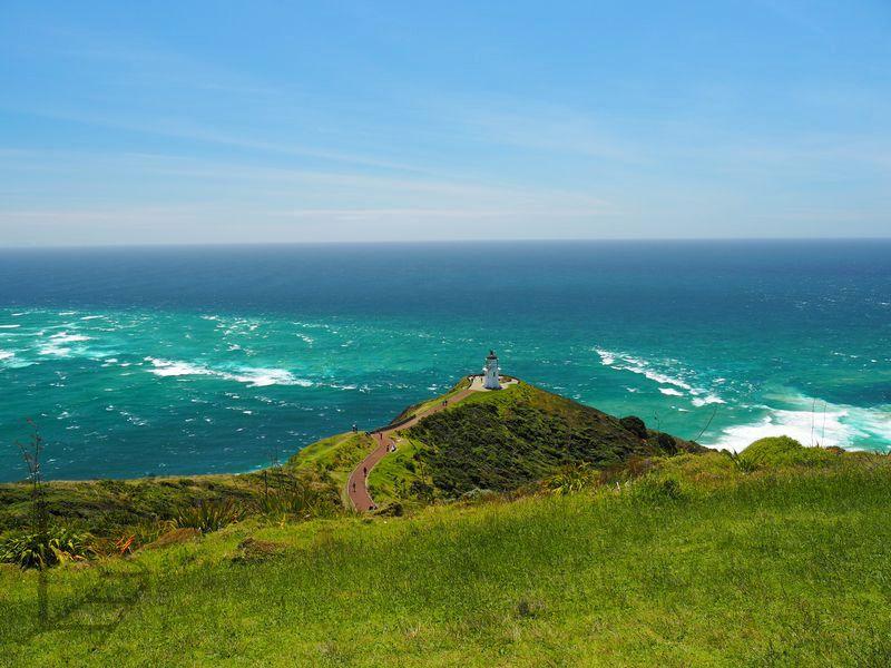 Przylądek Reinga - rozdzielone wody Morza Tasmana i Oceanu Spokojnego