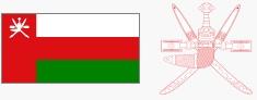 Flaga i godło Omanu (za wikipedia.org)