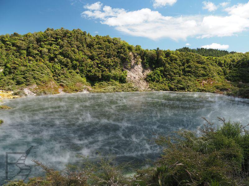 Parujące jezioro w Waimangu Volcanic Valley