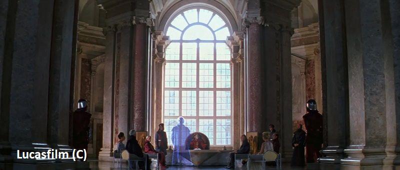 """""""Gwiezdne Wojny: Cześć I: Mroczne widmo"""" i Caserta jako pałac królewski na Naboo."""