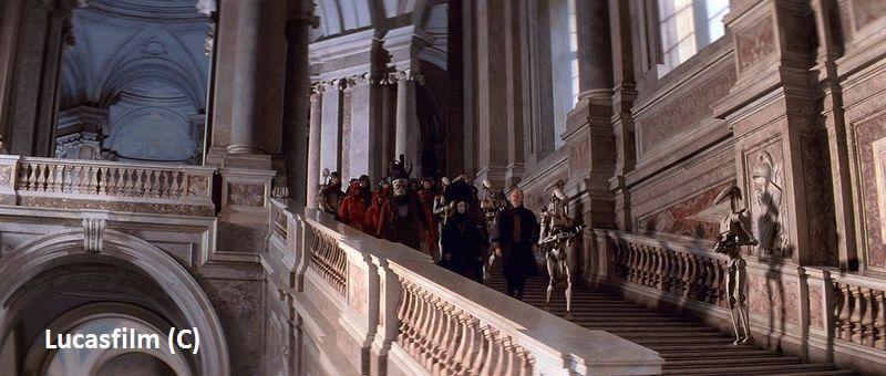 """""""Gwiezdne Wojny: Cześć I: Mroczne widmo"""" i Caserta jako pałac królewski w Theed na planecie Naboo."""