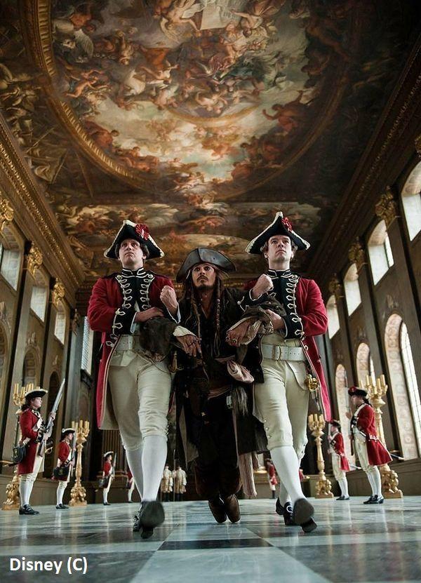 """""""Piraci z Karaibów: Na nieznanych wodach"""" i Painted Hall, Greenich, Londyn"""
