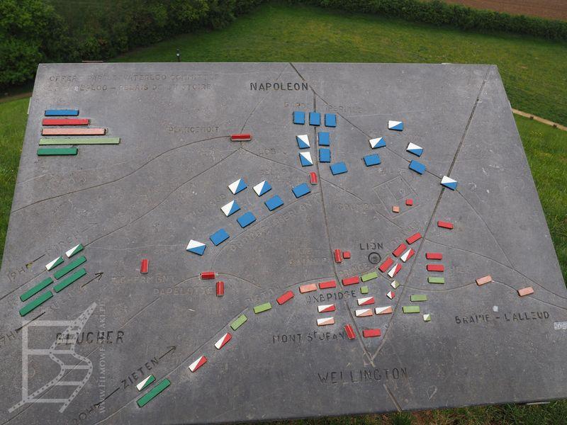 Mapa rozmieszczenia wojsk na polach Waterloo