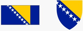 Flaga i godło BIH (za wikipedia.org)