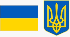 Flaga i godło Ukrainy (za wikipedia.org)