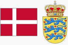 Flaga i godło Danii (za wikipedia.org)