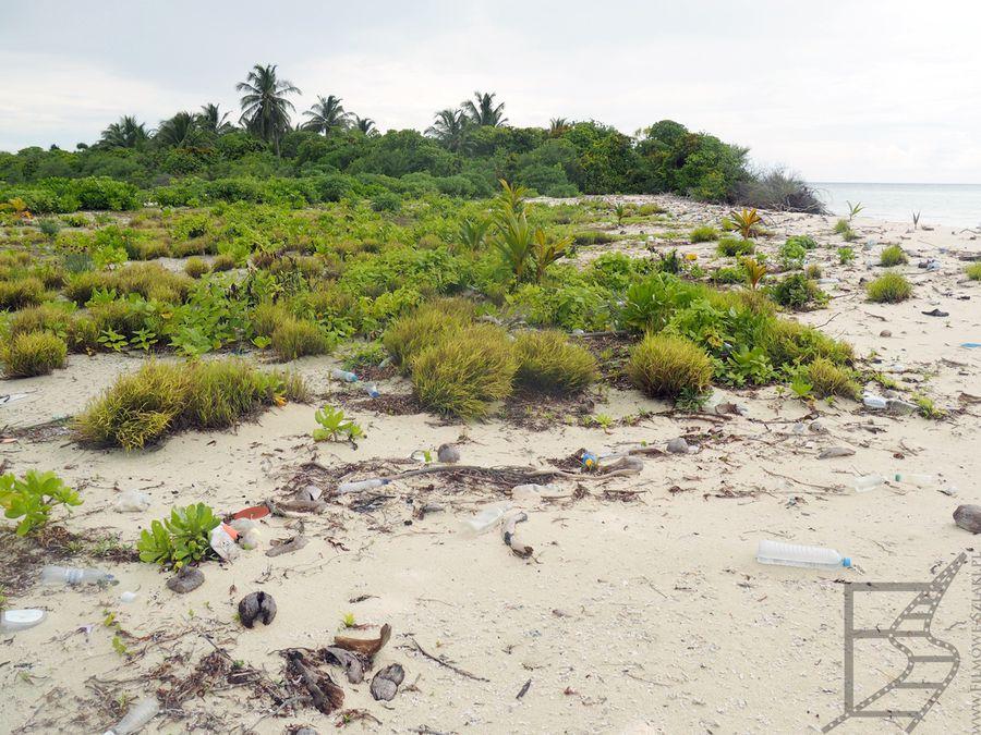 Plaża i wyrzucone śmieci