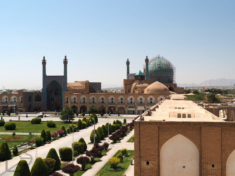 Widok na meczet Szacha z pałacu Ali Qapu (Isfahan)