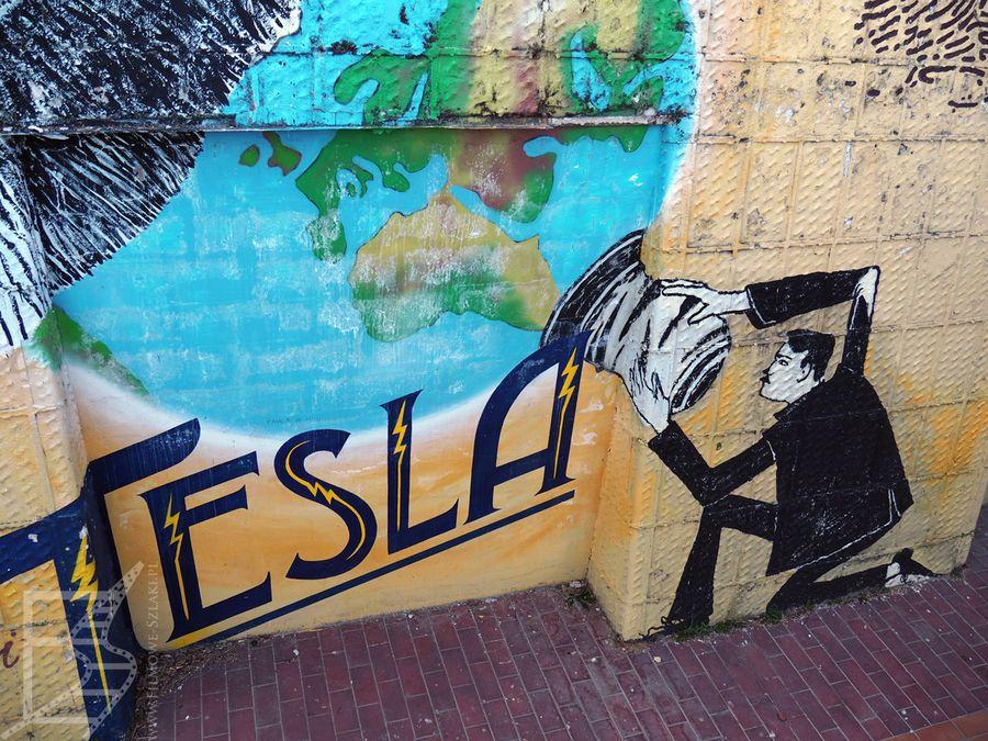 Tesla obecny jest nawet na murach (Zagrzeb, Chorwacja)