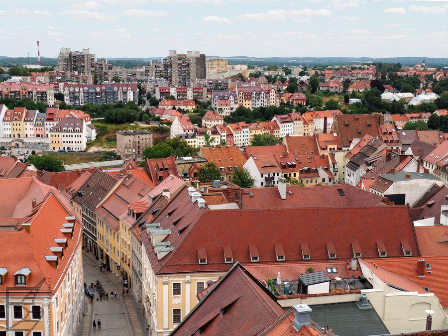 Dachy Görlitz i Zgorzelec w tle