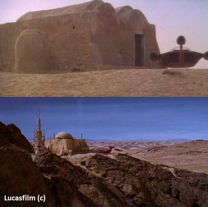 """Dżerba i chatka Bena w filmie """"Gwiezdne Wojny: Nowa nadzieja"""". U góry wersja oryginalna (1977), gdzie zastosowano jedynie ujęcie z dołu, by nie złapać morza. U dołu wersja poprawiona komputerowo w """"Wersji Specjalnej"""" (1997) i kolejnych wydaniach."""